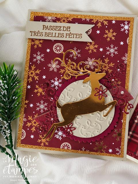 Carte de Noël Stampin' Up! avec le papier design de Noël et le lot Renne fringant