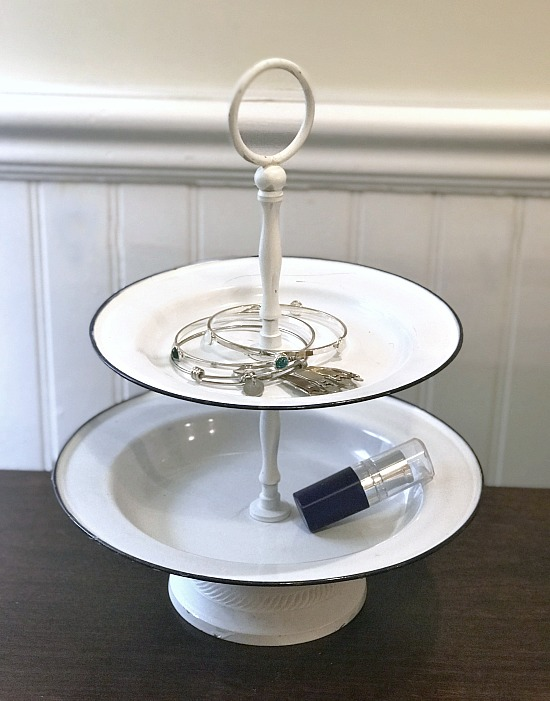 DIY White Enamelware Tiered Tray Jewelry Dish. Homeroad.net