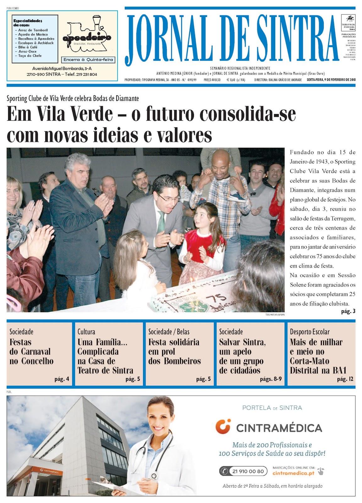 Capa da edição de 09-02-2018