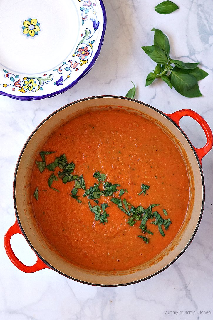Tomato basil soup made with fresh tomatoes.