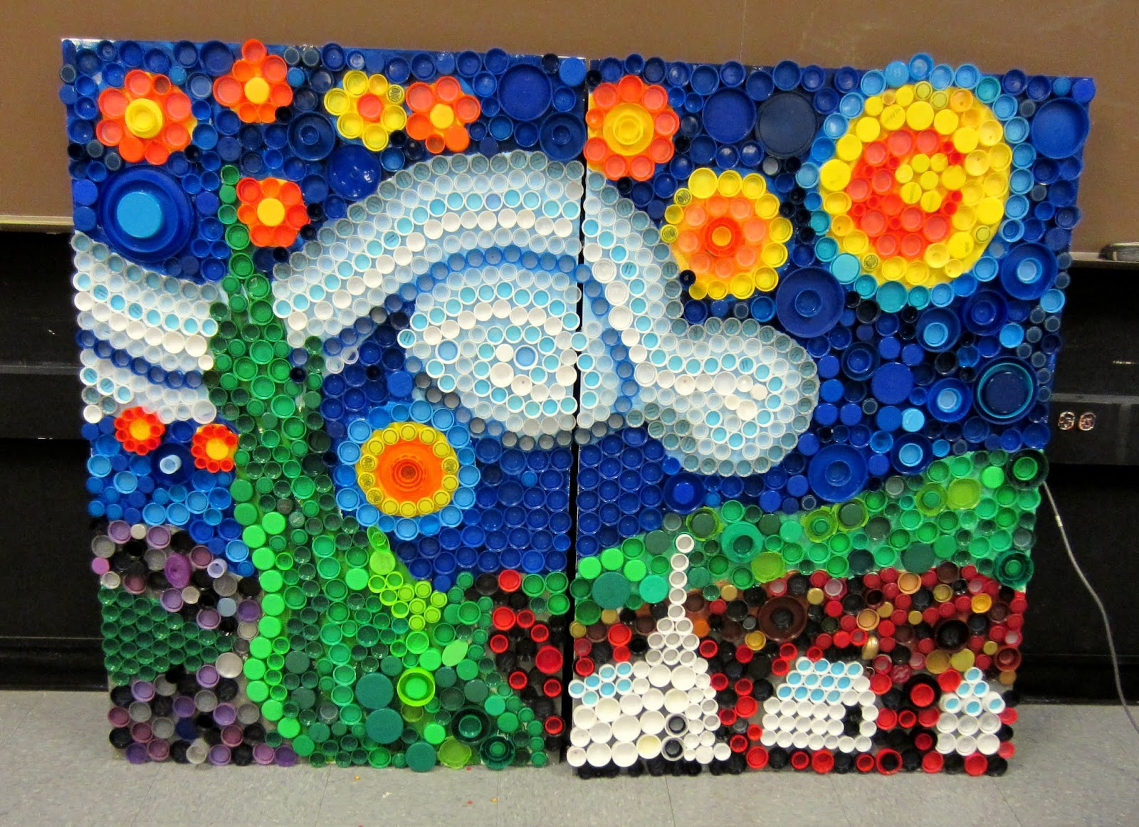 Mrs Art Teacher Every Cap Counts Our Bottle Cap Mural