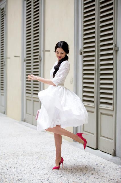 Dress Dolce and Gabbana by Pink peonies via Luisaviaroma