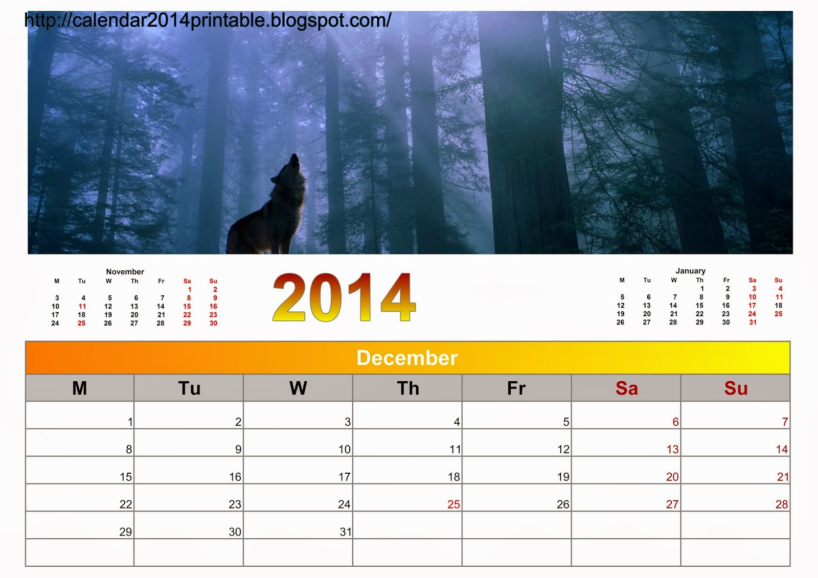 calendar 2014 nature with wallpapers free printable