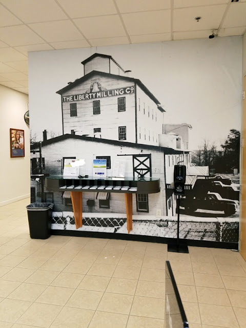 black and white picture inside the bank in Germantown MD