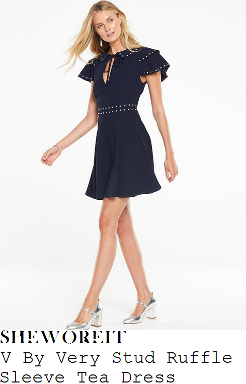 rosie-fortescue-v-by-very-navy-blue-and-silver-layered-ruffle-cap-sleeve-tie-detail-stud-embellished-a-line-tea-mini-dress