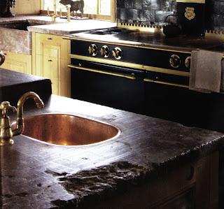 Prep sink, rough marble slab detail, image via Garnier (be) website (More Than Classic feature) as seen on linenandlavender.net