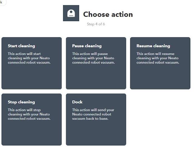 IFTTT unterstützt für Neato: Saugen starten und stoppen, Saugen pausieren und fortsetzen und Andocken