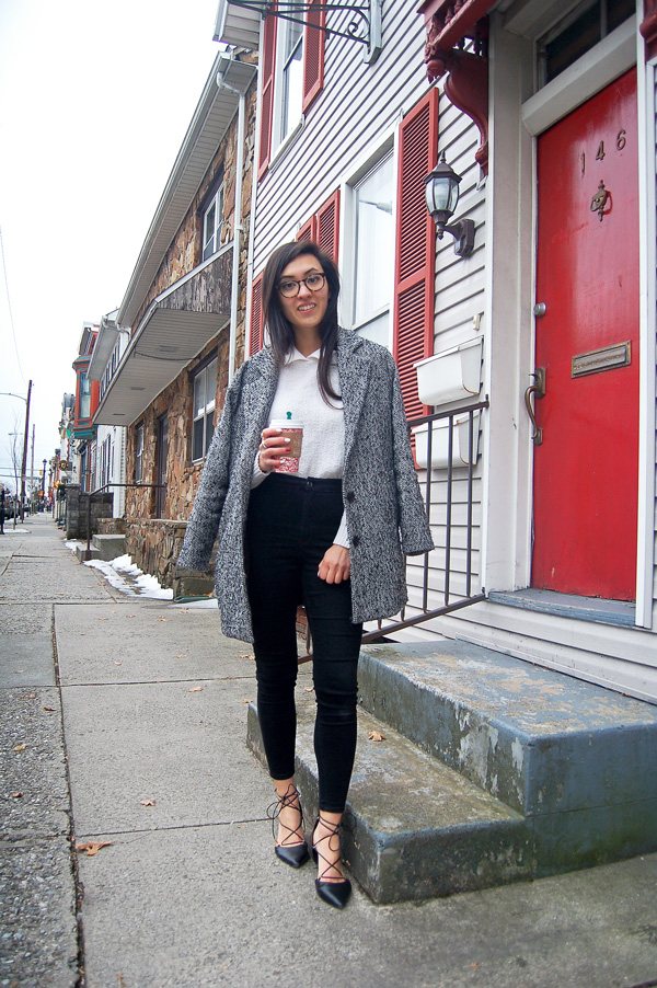 Gray Coat Black Jeans White Sweater