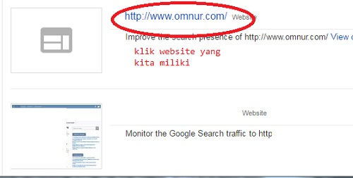 Memilih Website yang kita miliki di Google Webmaster