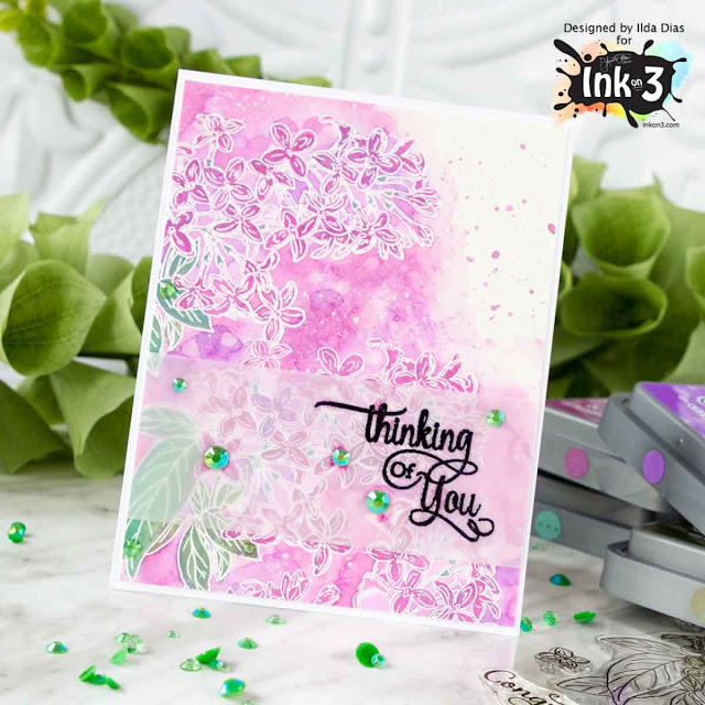 Lilac Dreams - Thinking Of You Card - Watercoloring and Smooshing with Distress Oxide Inks by ilovedoingallthingscrafty