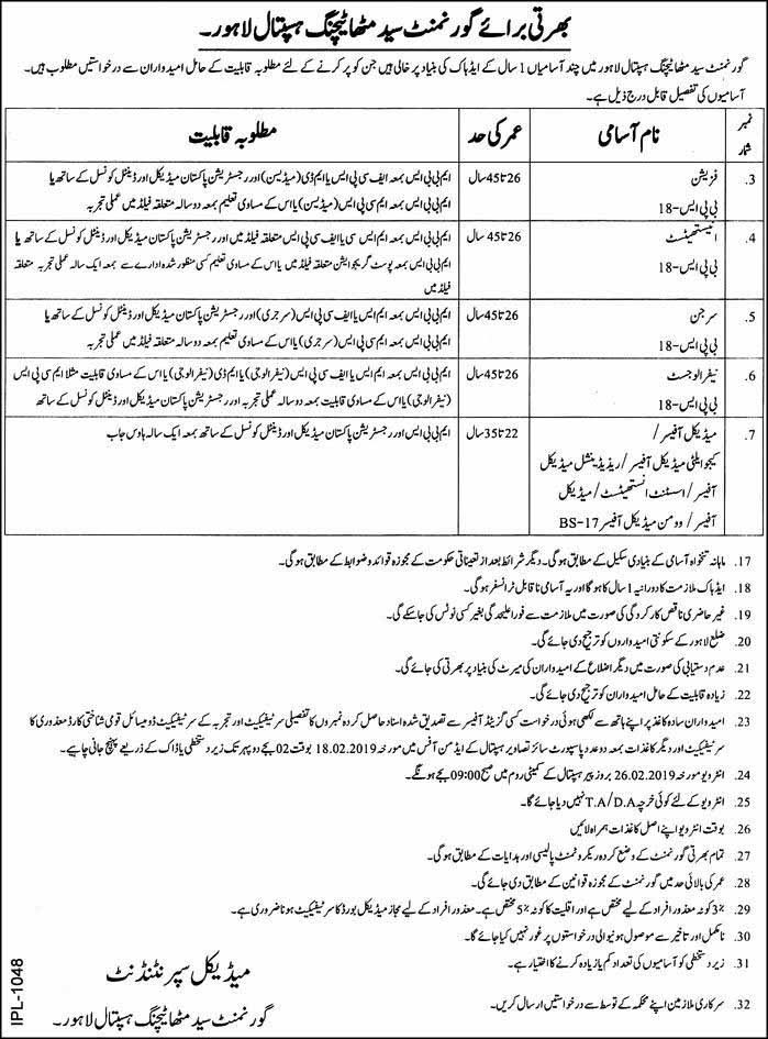 MBBS Jobs in Govt Syed Mitha Teaching Hospital Lahore