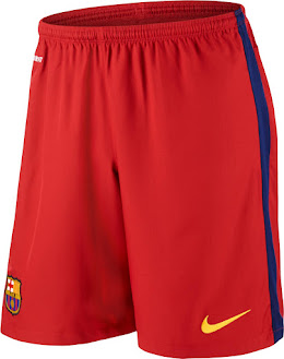 The shorts of the new Barcelona 2015-2016 Kit are red instead of the  traditional blue shorts 99e995c321ccd