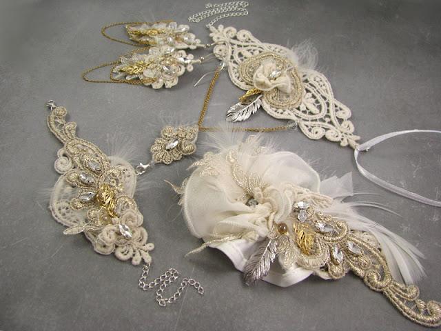 Boho, biżuteria ślubna z koronek.