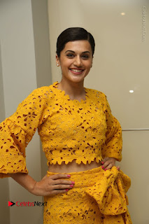 Taapsee Pannu Stills in Yellow Dress at Ghazi Press Meet