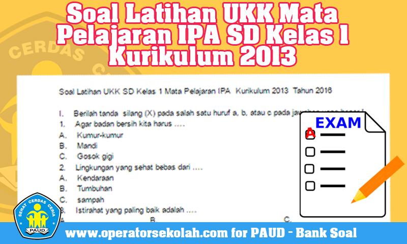 Soal Latihan UKK Mata Pelajaran IPA SD Kelas 1 Kurikulum 2013