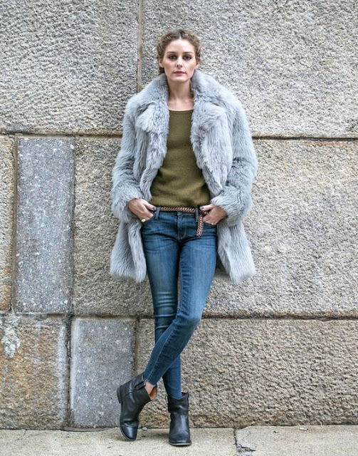 olive green sweater grey fur coat denim jeans booties olivia palermo chic street style fall fashion