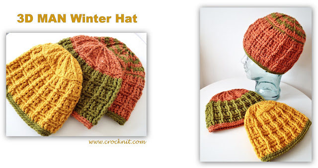 crochet pattern, hats, beanies, men, winter, family