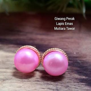 Giwang Perak Lapis Emas Mutiara Lombok