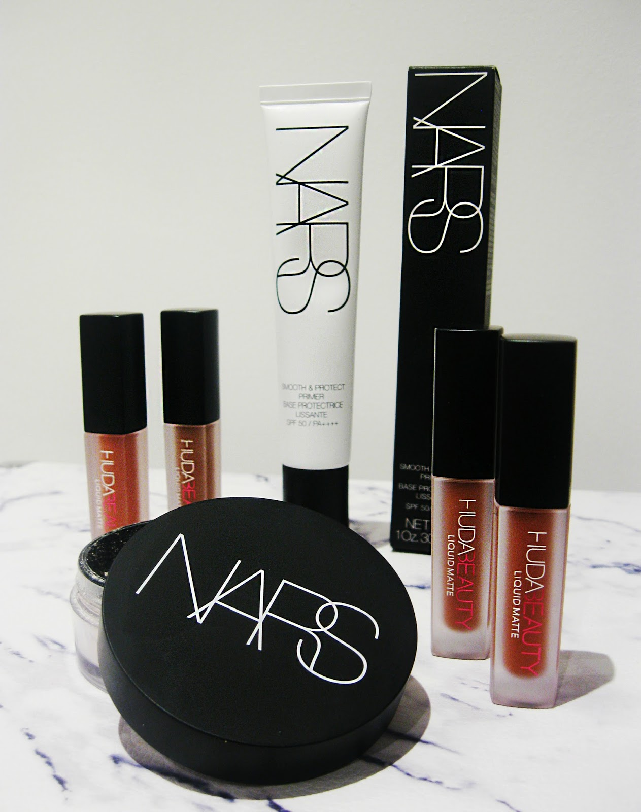 nars, huda beauty, huda lashes, huda scarlett lashes, nars primer, nars powder