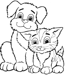 Dog And Cat Coloring Pages Animals For Kids