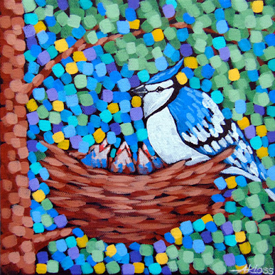 Tiny Blue Jays painting by artist aaron kloss, blue jay painting, bird painting, bird nest painting, pointillism, minnesota landscape painting