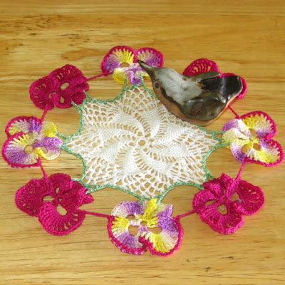 Spring Pansy Flower Lace Doily - By Ruth Sandra Sperling as RSS Designs In Fiber