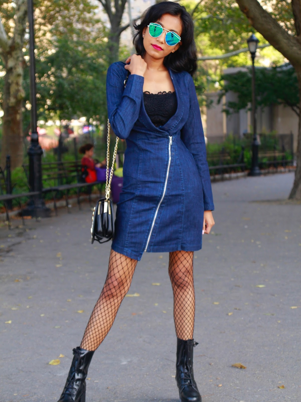 Denim Dress And Fishnet Fall Fashion New York