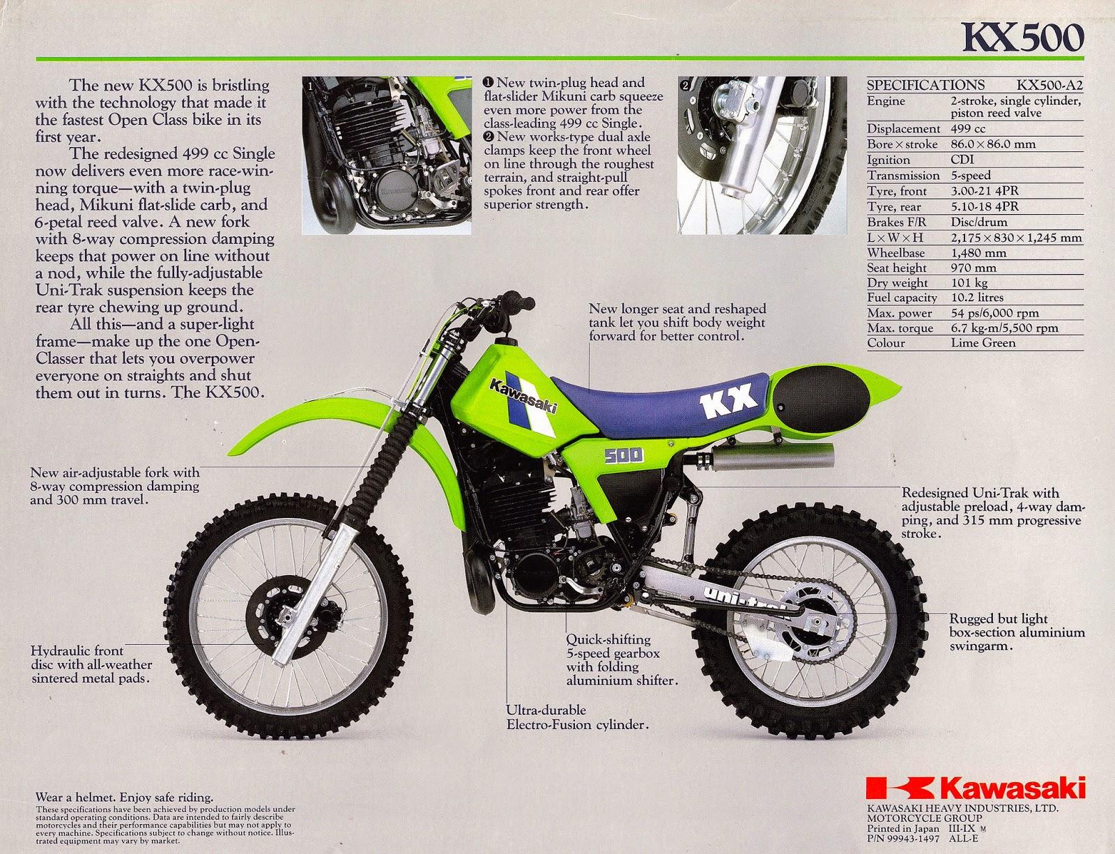 Racing Caf U00e8  Vintage Brochures  Kawasaki Kx 500 1984  Usa