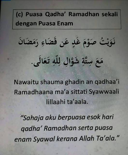 Hukum Qadha Puasa Ramadhan sekali Puasa 6 Syawal