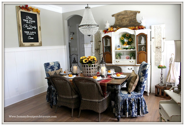 French Farmhouse Style Fall Dining Room-French Country-Pottery Barn Mia Chandelier-Blue Floral Parson Chairs-Basket of Sunflowers-From My Front Porch To Yours