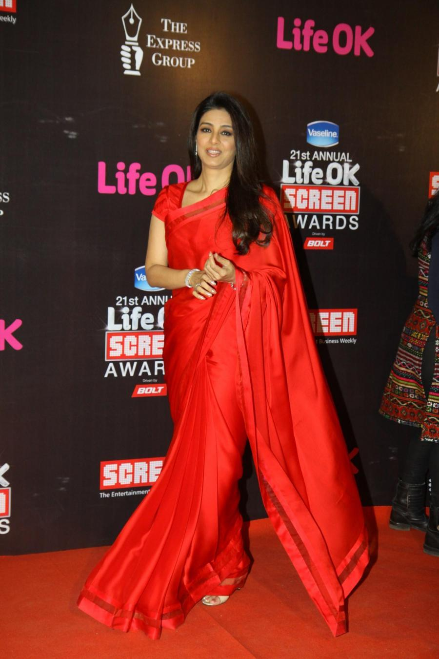 Hindi Actress Tabu Stills In Red Saree At Screen Awards