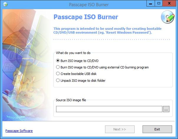 Passcape ISO Burner 2.1.0.300 [Portable][Creación de discos de arranque a partir de imágenes ISO]