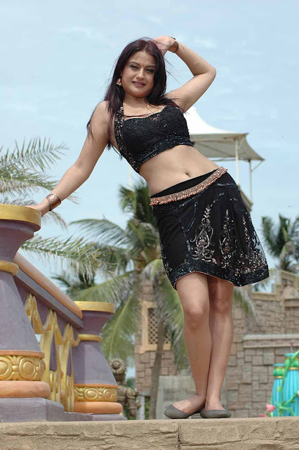 Sonia Agarwal Hot Navel Stills In Black Dress