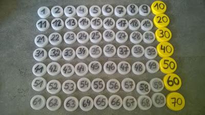 Exercices de numération avec des bouchons, suite de nombres, dizaines, ...