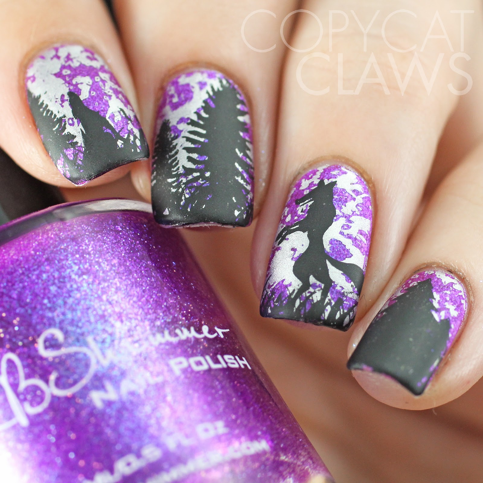 Copycat Claws Blue Color Block Nail Art: Copycat Claws: Werewolf Nail Stamping