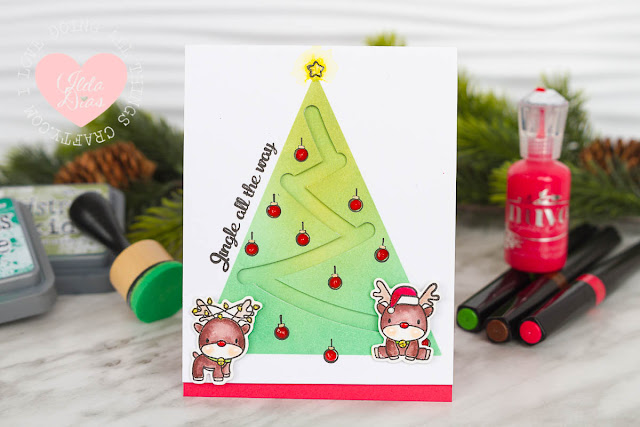 DIY Slider Track Card ft. Mama Elepahant and Hampton Arts Reindeer Christmas Stamp