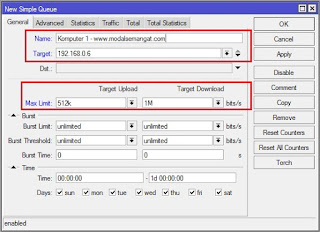 Mengatur Bandwidth Menggunakan Simple Queue