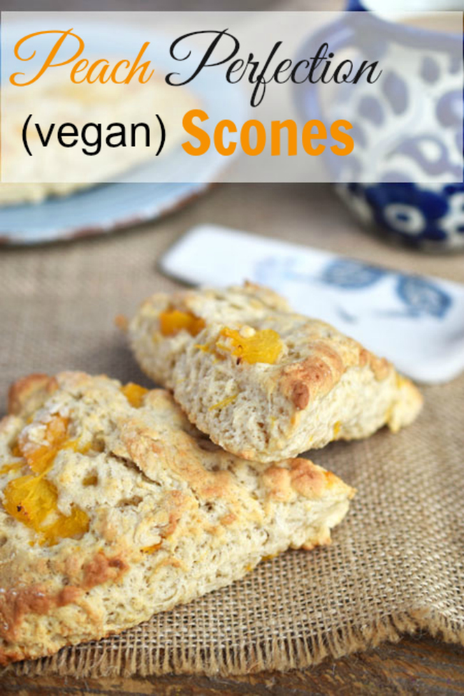 "Peach Perfection Vegan ""Buttermilk"" Scones - with cinnamon and ground ginger for a gentle sweet and savoury effect (and an unbelievable fragrance when these scones are baking in the oven!"