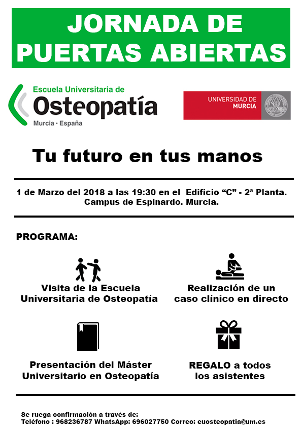 Jornada de Puertas Abiertas Escuela Universitaria de Osteopatía Murcia.
