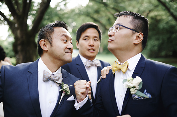Groom and groomsmen goofing off