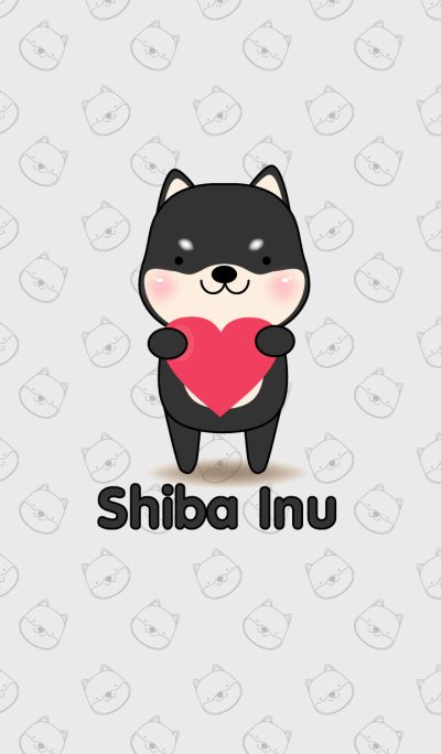 Love Cute Black Shiba inu Theme