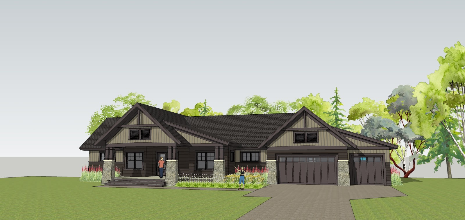 Simply elegant home designs blog new twist on a craftsman for House plans with 4 car attached garage