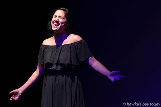 Renaye Tamati, Hastings, singing How Did We Come To This - Cabaret at The Tabard, one of the From Singer to Performer concert series performed by students of the 2017 IFAC Handa New Zealand Singing School, at Tabard Theatre, Napier. photograph