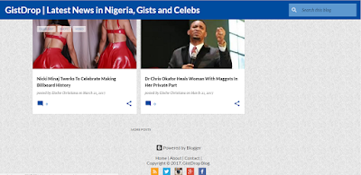 nigerian entertainment blog design in blue