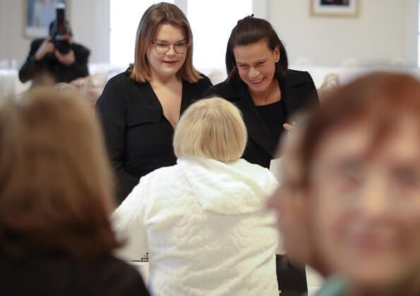 Princess Stephanie of Monaco and Camille Gottlieb visited elders at the Foyer of Rainier III eve Monaco National Day 2019