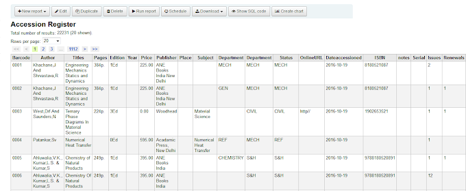 Customize koha Accession Register (Koha SQL Reports Queries)