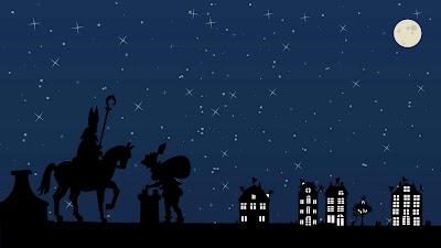 Sinterklaas en Piet op de daken