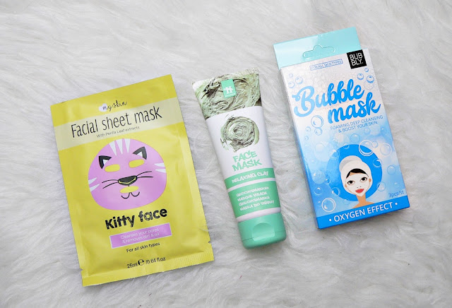 Facial sheet mask - Relaxing clay mask - Bubble mask action haul shoplog beauty verzorging