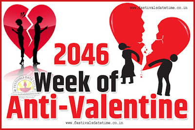2046 Anti-Valentine Week List, 2046 Slap Day, Kick Day, Breakup Day Date Calendar