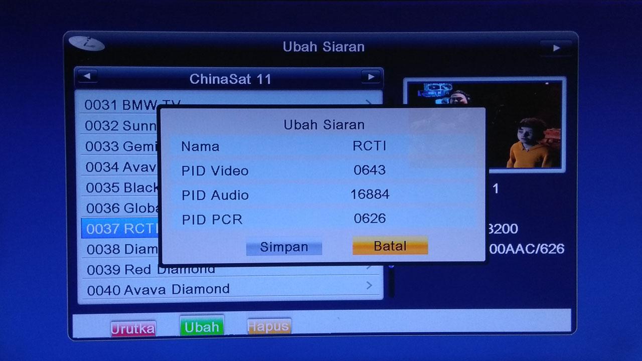 Cara Merubah PCR PID Video Audio di Geosat Jasper HD